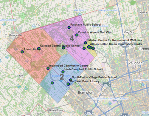 Map of Wards in Caledon